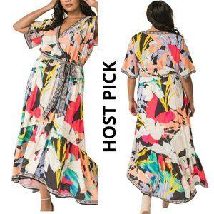 Dress Summer Print Hi-Low Midi Dress XXXL